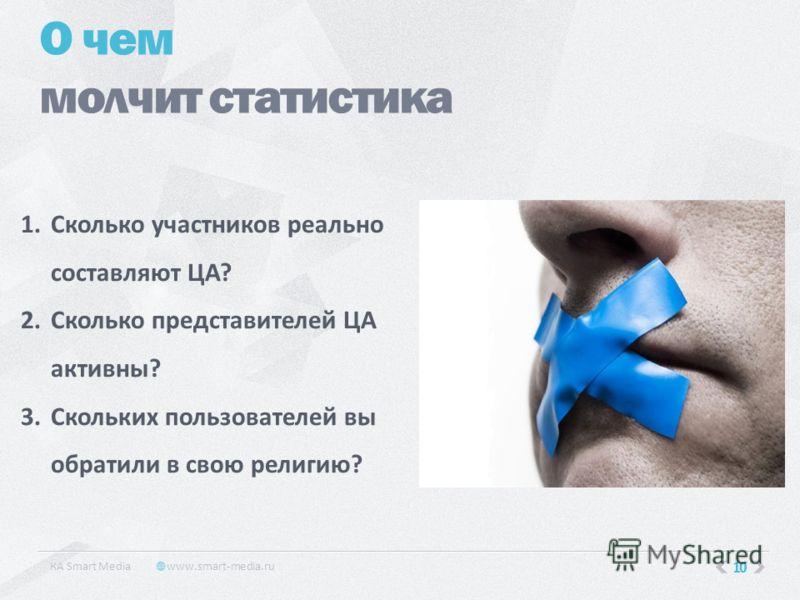 10 О чем молчит статистика КA Smart Media www.smart-media.ru 1.Сколько участников реально составляют ЦА? 2.Сколько представителей ЦА активны? 3.Скольких пользователей вы обратили в свою религию?