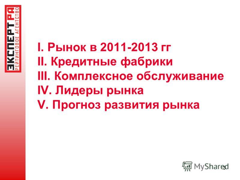 3 I. Рынок в 2011-2013 гг II. Кредитные фабрики III. Комплексное обслуживание IV. Лидеры рынка V. Прогноз развития рынка