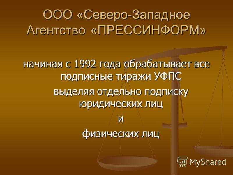 начиная с 1992 года обрабатывает все подписные тиражи УФПС выделяя отдельно подписку юридических лиц выделяя отдельно подписку юридических лици физических лиц