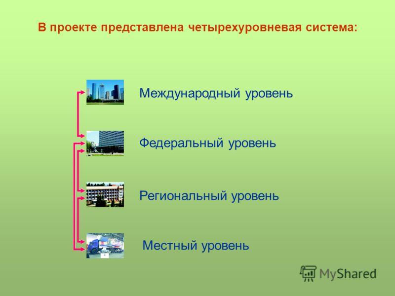 В проекте представлена четырехуровневая система: Международный уровень Федеральный уровень Региональный уровень Местный уровень