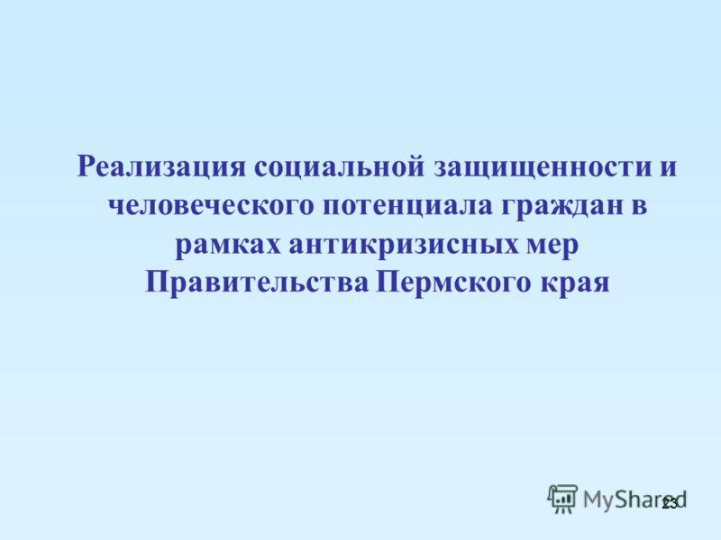 23 Реализация социальной защищенности и человеческого потенциала граждан в рамках антикризисных мер Правительства Пермского края