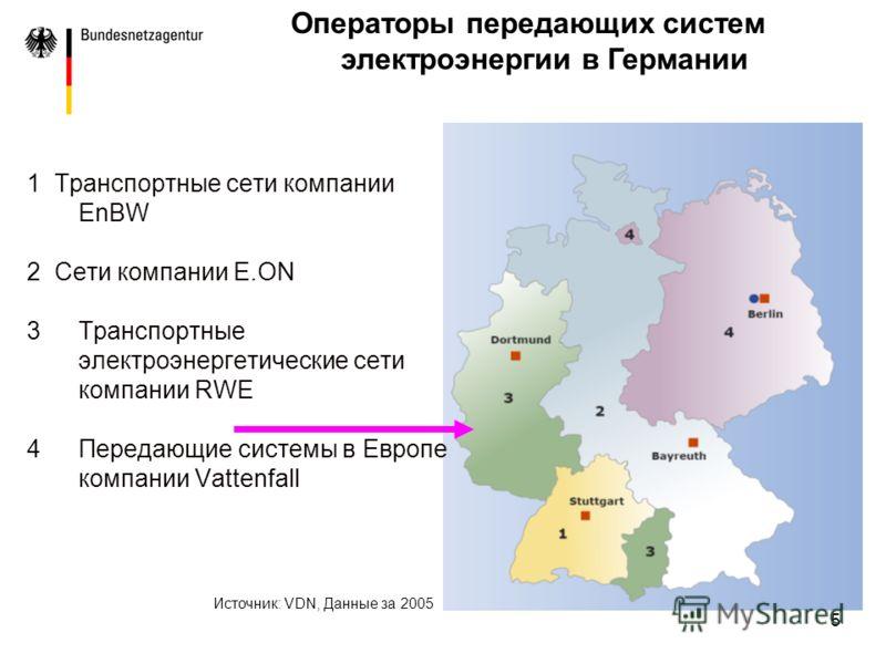 5 1 Транспортные сети компании EnBW 2 Сети компании E.ON 3Транспортные электроэнергетические сети компании RWE 4Передающие системы в Европе компании Vattenfall Источник: VDN, Данные за 2005 Операторы передающих систем электроэнергии в Германии