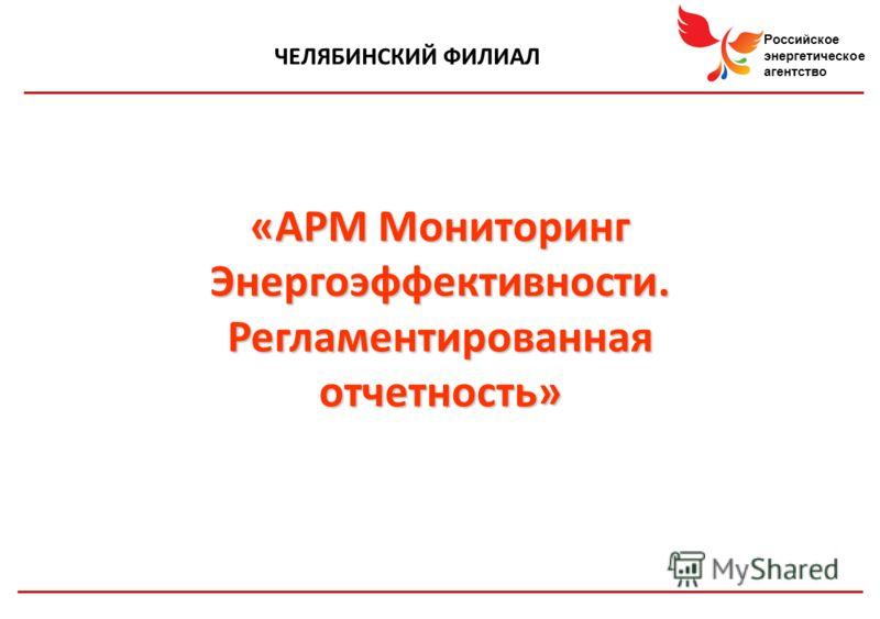 Российское энергетическое агентство ЧЕЛЯБИНСКИЙ ФИЛИАЛ «АРМ Мониторинг Энергоэффективности. Регламентированная отчетность»