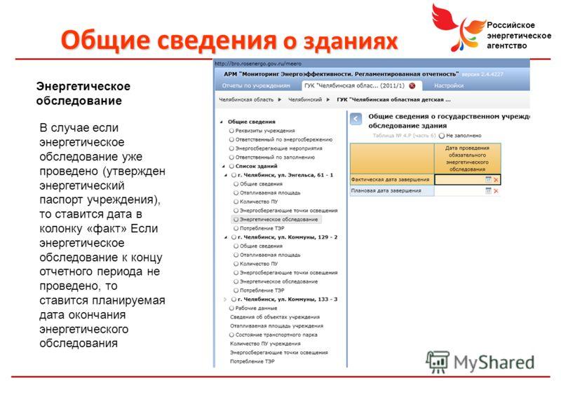 Российское энергетическое агентство Энергетическое обследование В случае если энергетическое обследование уже проведено (утвержден энергетический паспорт учреждения), то ставится дата в колонку «факт» Если энергетическое обследование к концу отчетног