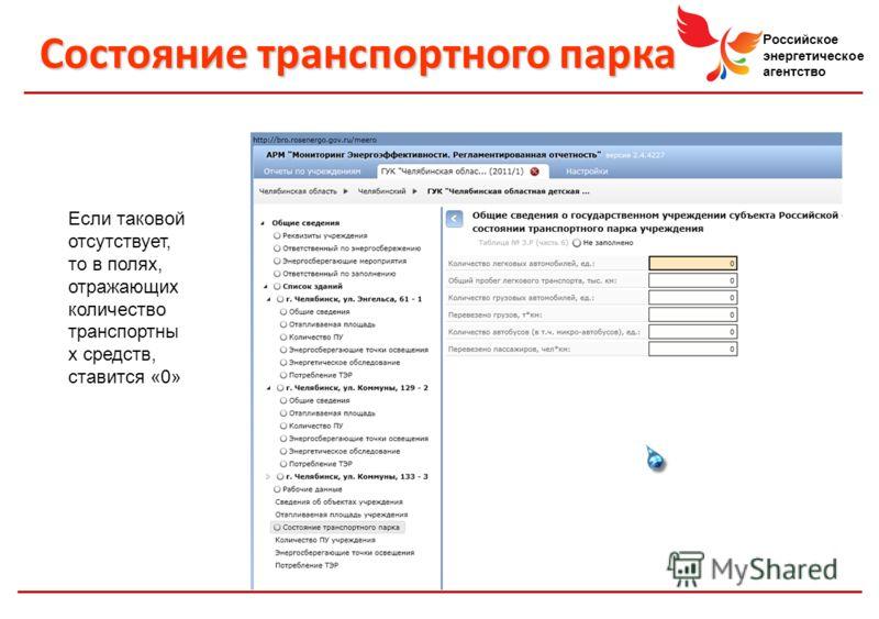 Российское энергетическое агентство Состояние транспортного парка Если таковой отсутствует, то в полях, отражающих количество транспортны х средств, ставится «0»