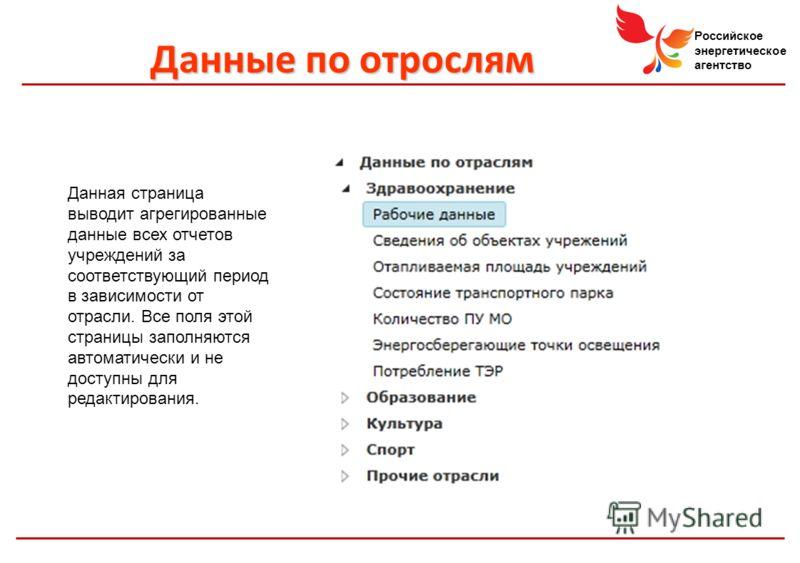 Российское энергетическое агентство Данные по отрослям Данная страница выводит агрегированные данные всех отчетов учреждений за соответствующий период в зависимости от отрасли. Все поля этой страницы заполняются автоматически и не доступны для редакт