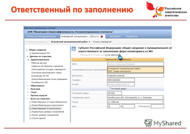 Российское энергетическое агентство Ответственный по заполнению