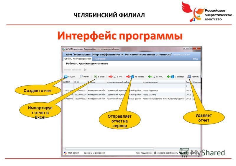 Российское энергетическое агентство ЧЕЛЯБИНСКИЙ ФИЛИАЛ Интерфейс программы Создает отчет Импортируе т отчет в Excel Отправляет отчет на сервер Удаляет отчет