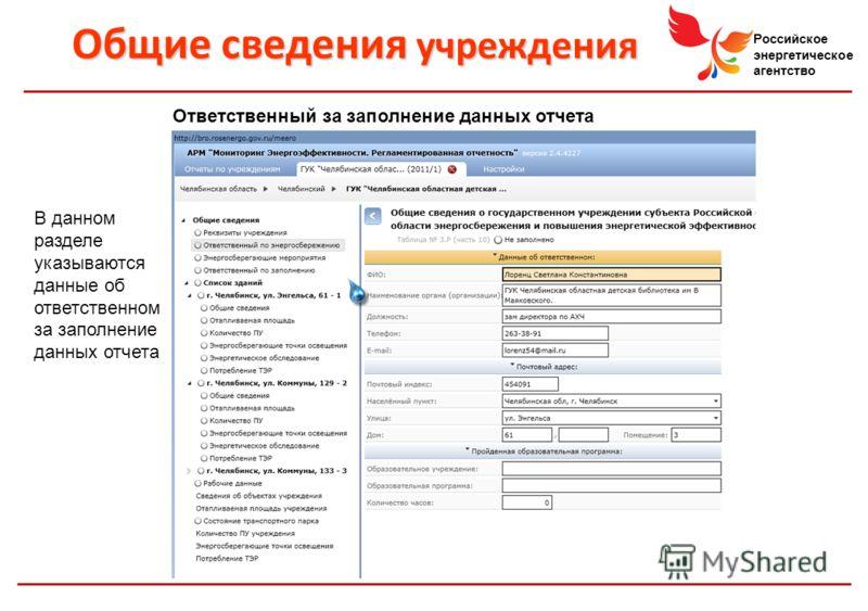Российское энергетическое агентство Общие сведения учреждения Ответственный за заполнение данных отчета В данном разделе указываются данные об ответственном за заполнение данных отчета