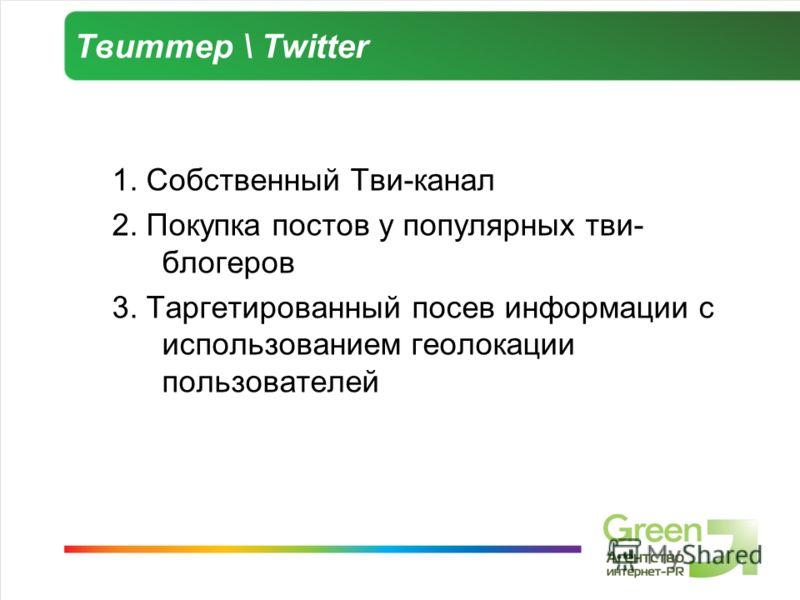Твиттер \ Twitter 1. Собственный Тви-канал 2. Покупка постов у популярных тви- блогеров 3. Таргетированный посев информации с использованием геолокации пользователей