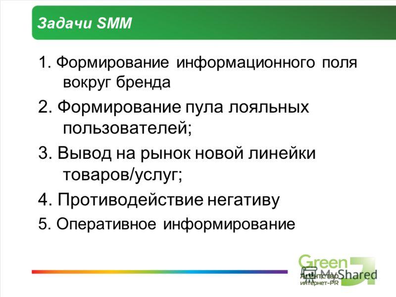 Задачи SMM 1. Формирование информационного поля вокруг бренда 2. Формирование пула лояльных пользователей; 3. Вывод на рынок новой линейки товаров/услуг; 4. Противодействие негативу 5. Оперативное информирование