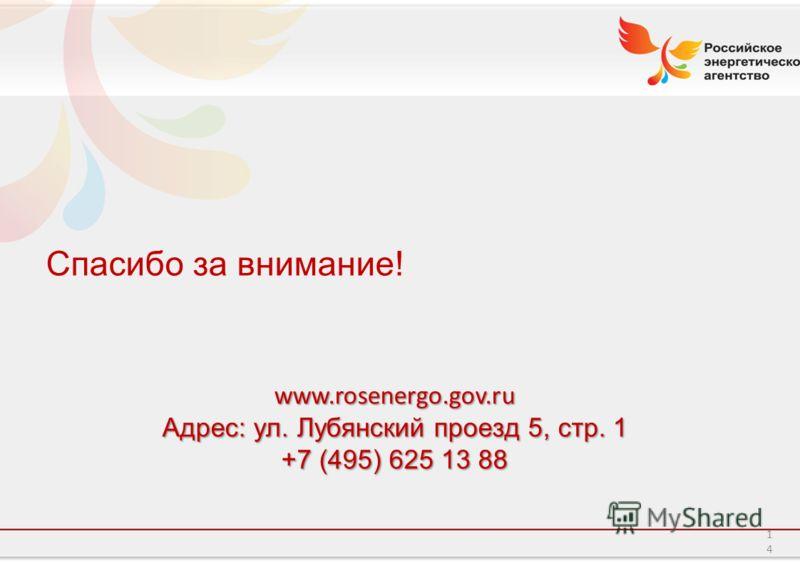 Российское энергетическое агентство 14 Спасибо за внимание!www.rosenergo.gov.ru Адрес: ул. Лубянский проезд 5, стр. 1 +7 (495) 625 13 88