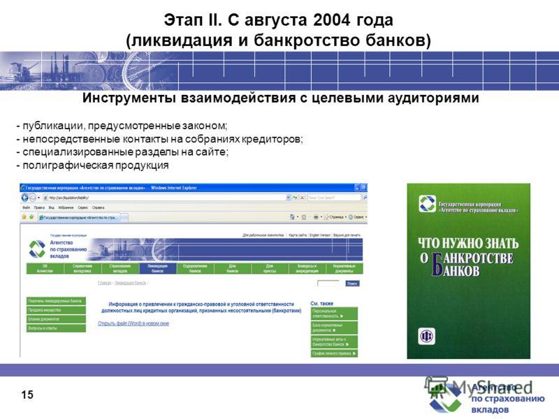 1515 Этап II. С августа 2004 года (ликвидация и банкротство банков) Инструменты взаимодействия с целевыми аудиториями - публикации, предусмотренные законом; - непосредственные контакты на собраниях кредиторов; - специализированные разделы на сайте; -