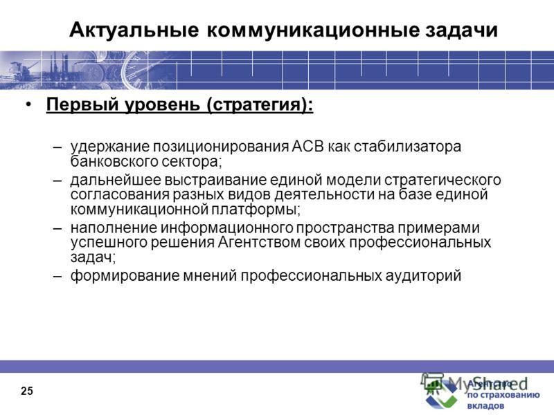 Актуальные коммуникационные задачи Первый уровень (стратегия): –удержание позиционирования АСВ как стабилизатора банковского сектора; –дальнейшее выстраивание единой модели стратегического согласования разных видов деятельности на базе единой коммуни