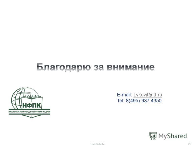 E-mail: Lykov@ntf.ruLykov@ntf.ru Tel: 8(495) 937.4350 Лыков М.М.22