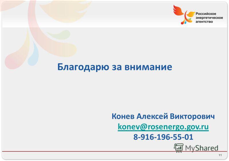 11 Благодарю за внимание Конев Алексей Викторович konev@rosenergo.gov.ru 8-916-196-55-01