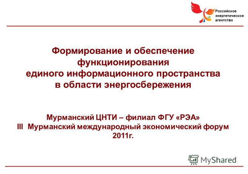 Российское энергетическое агентство Формирование и обеспечение функционирования единого информационного пространства в области энергосбережения Мурманский ЦНТИ – филиал ФГУ «РЭА» III Мурманский международный экономический форум 2011г.