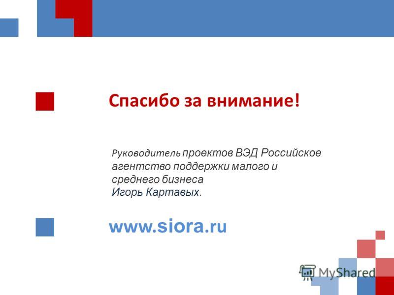 Руководитель проектов ВЭД Российское агентство поддержки малого и среднего бизнеса Игорь Картавых. Спасибо за внимание! www. siora.ru