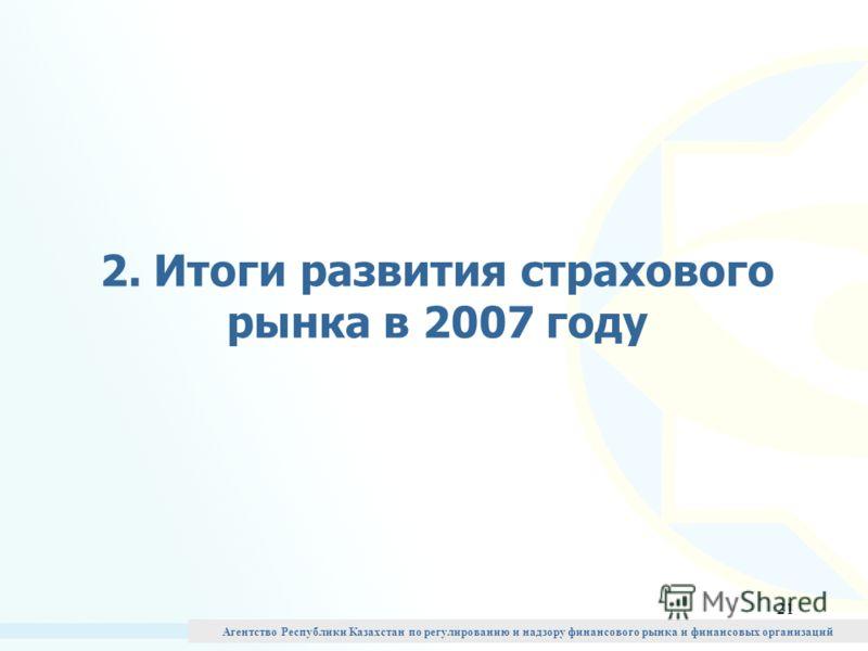 21 2. Итоги развития страхового рынка в 2007 году Агентство Республики Казахстан по регулированию и надзору финансового рынка и финансовых организаций