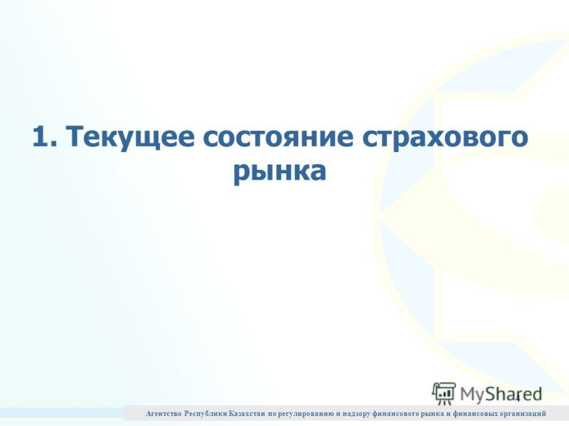 4 1. Текущее состояние страхового рынка Агентство Республики Казахстан по регулированию и надзору финансового рынка и финансовых организаций