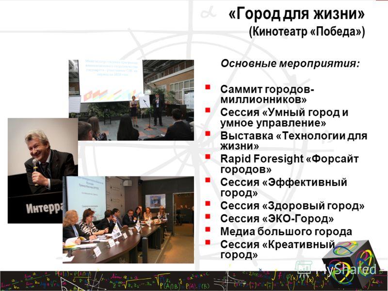 15 Четыре направления форума: «Новая экономика» «Город для жизни» «Территория инноваций» «Политика и управление в сфере инновационного развития»