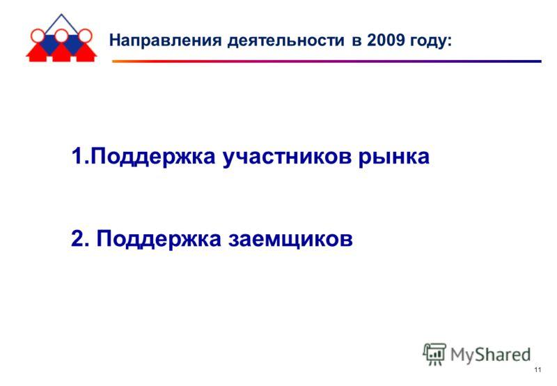 11 Направления деятельности в 2009 году: 1.Поддержка участников рынка 2. Поддержка заемщиков