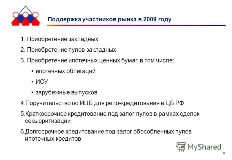 12 Поддержка участников рынка в 2009 году 1. Приобретение закладных 2. Приобретение пулов закладных 3. Приобретение ипотечных ценных бумаг, в том числе: ипотечных облигаций ИСУ зарубежные выпусков 4.Поручительство по ИЦБ для репо-кредитования в ЦБ РФ