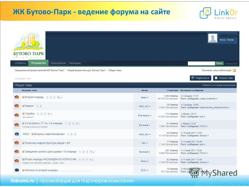 ЖК Бутово-Парк - ведение форума на сайте linkorra.ru | презентация для партнеров компании