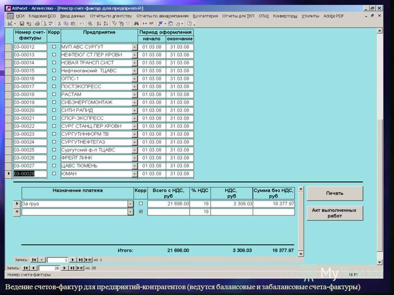 Ведение счетов-фактур для предприятий-контрагентов (ведутся балансовые и забалансовые счета-фактуры)