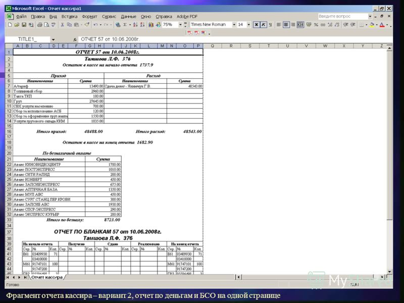 Фрагмент отчета кассира – вариант 2, отчет по деньгам и БСО на одной странице
