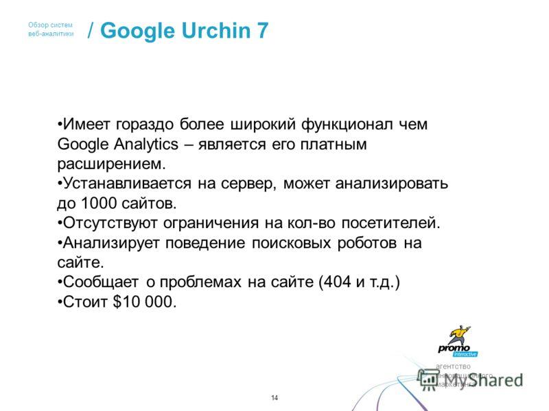 агентство инновационного маркетинга Обзор систем веб-аналитики / Google Urchin 7 14 Имеет гораздо более широкий функционал чем Google Analytics – является его платным расширением. Устанавливается на сервер, может анализировать до 1000 сайтов. Отсутст