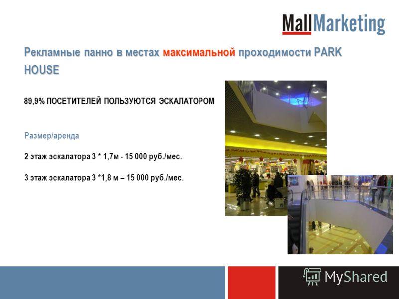 Рекламные панно в местах максимальной проходимости PARK HOUSE 89,9% ПОСЕТИТЕЛЕЙ ПОЛЬЗУЮТСЯ ЭСКАЛАТОРОМ Размер/аренда 2 этаж эскалатора 3 * 1,7м - 15 000 руб./мес. 3 этаж эскалатора 3 *1,8 м – 15 000 руб./мес.