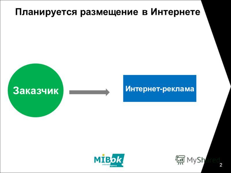 2 Планируется размещение в Интернете Заказчик Интернет-реклама