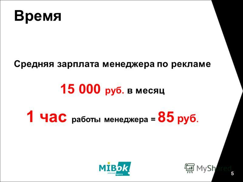 5 Время 5 Средняя зарплата менеджера по рекламе 15 000 руб. в месяц 1 час работы менеджера = 85 руб.