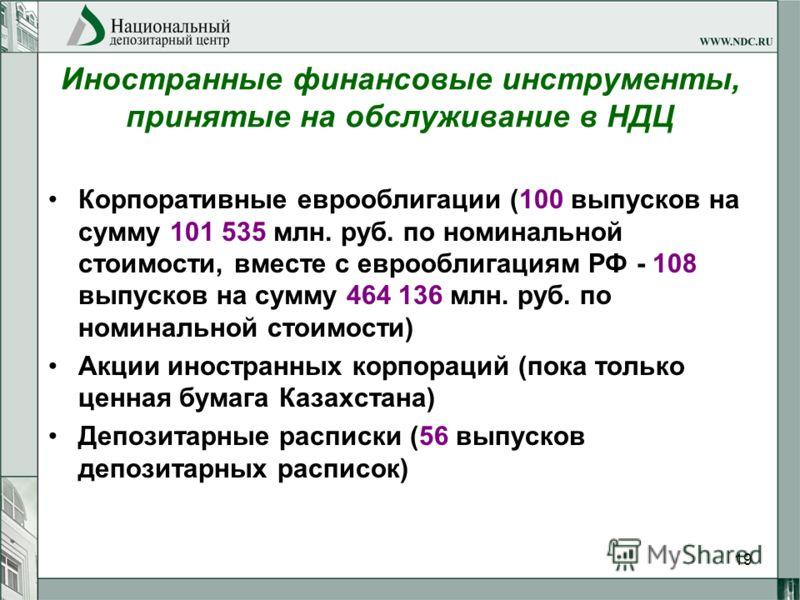 19 Иностранные финансовые инструменты, принятые на обслуживание в НДЦ Корпоративные еврооблигации (100 выпусков на сумму 101 535 млн. руб. по номинальной стоимости, вместе с еврооблигациям РФ - 108 выпусков на сумму 464 136 млн. руб. по номинальной с