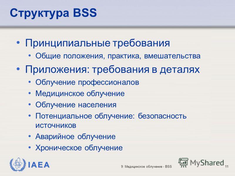 IAEA 9: Медицинское облучение - BSS11 Принципиальные требования Общие положения, практика, вмешательства Приложения: требования в деталях Облучение профессионалов Медицинское облучение Облучение населения Потенциальное облучение: безопасность источни