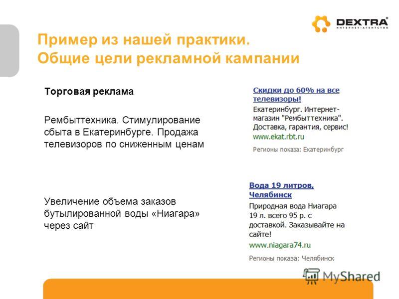 Пример из нашей практики. Общие цели рекламной кампании Торговая реклама Рембыттехника. Стимулирование сбыта в Екатеринбурге. Продажа телевизоров по сниженным ценам Увеличение объема заказов бутылированной воды «Ниагара» через сайт