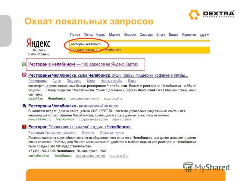 Пример. Какой ресторан посетить в Челябинске? Охват локальных запросов