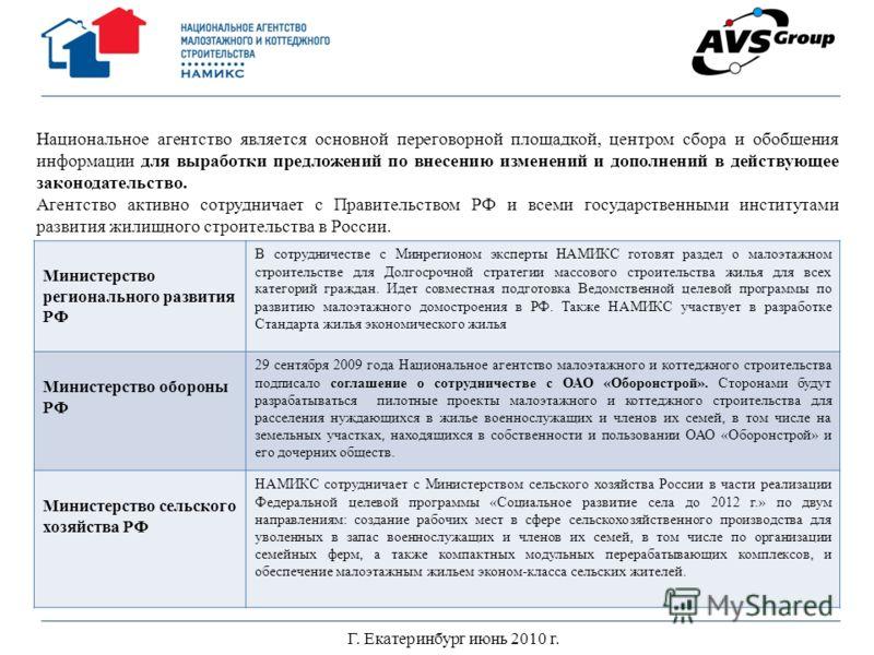 Г. Екатеринбург июнь 2010 г. Национальное агентство является основной переговорной площадкой, центром сбора и обобщения информации для выработки предложений по внесению изменений и дополнений в действующее законодательство. Агентство активно сотрудни