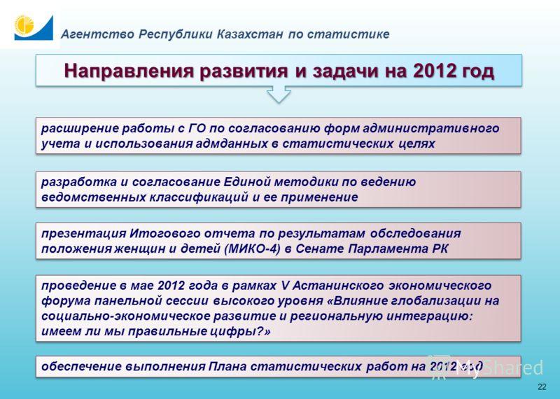 21 Агентство Республики Казахстан по статистике Направления развития и задачи на 2012 год реализация второго этапа Проекта «е-Статистика» дальнейшая интеграция с информационными системами ГО продолжение работы по совершенствованию статистической мето