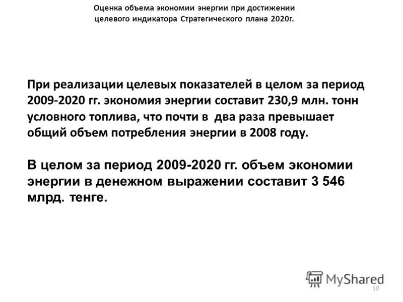 10 Оценка объема экономии энергии при достижении целевого индикатора Стратегического плана 2020г. При реализации целевых показателей в целом за период 2009-2020 гг. экономия энергии составит 230,9 млн. тонн условного топлива, что почти в два раза пре