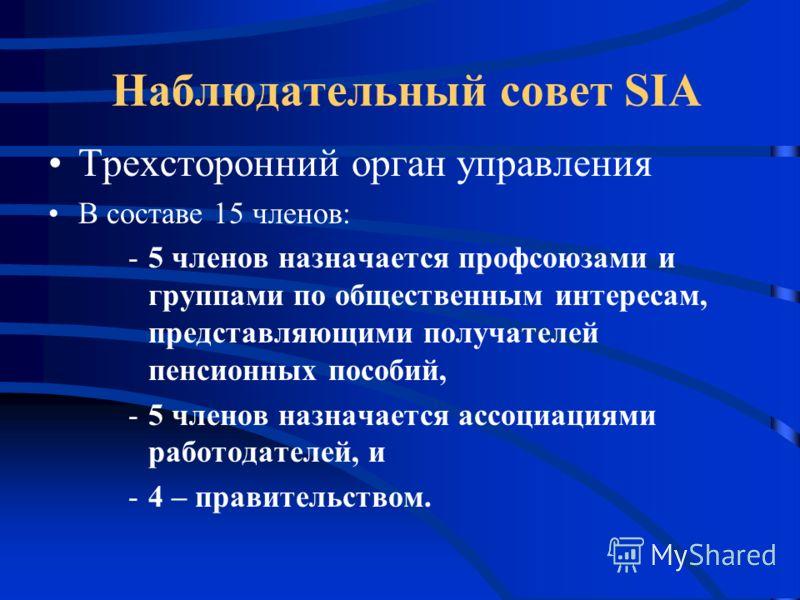 Наблюдательный совет SIA Трехсторонний орган управления В составе 15 членов: -5 членов назначается профсоюзами и группами по общественным интересам, представляющими получателей пенсионных пособий, -5 членов назначается ассоциациями работодателей, и -