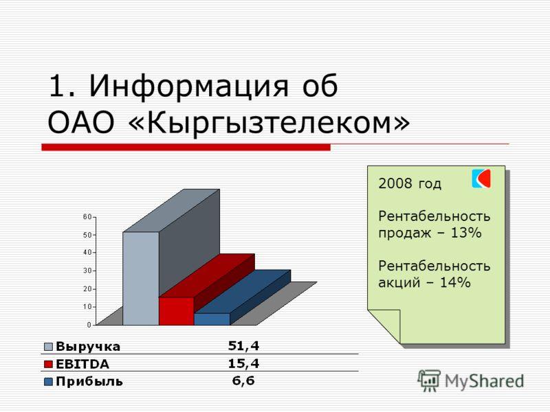 1. Информация об ОАО «Кыргызтелеком» 2008 год Рентабельность продаж – 13% Рентабельность акций – 14% 2008 год Рентабельность продаж – 13% Рентабельность акций – 14%