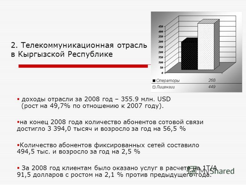 2. Телекоммуникационная отрасль в Кыргызской Республике доходы отрасли за 2008 год – 355.9 млн. USD (рост на 49,7% по отношению к 2007 году). на конец 2008 года количество абонентов сотовой связи достигло 3 394,0 тысяч и возросло за год на 56,5 % Кол