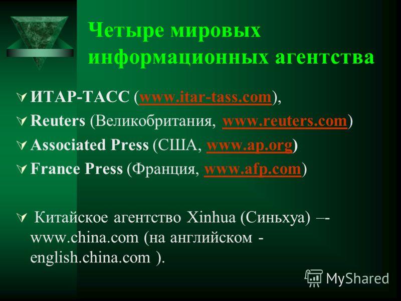 Четыре мировых информационных агентства ИТАР-ТАСС (www.itar-tass.com),www.itar-tass.com Reuters (Великобритания, www.reuters.com)www.reuters.com Associated Press (США, www.ap.org)www.ap.org France Press (Франция, www.afp.com)www.afp.com Китайское аге
