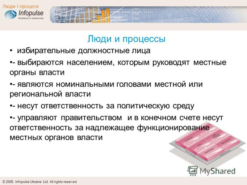 © 2008, Infopulse Ukraine Ltd. All rights reserved. Люди і процеси Люди и процессы избирательные должностные лица - выбираются населением, которым руководят местные органы власти - являются номинальными головами местной или региональной власти - несу
