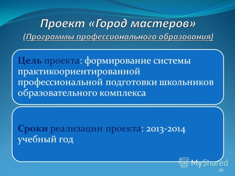 26 Цель проекта: формирование системы практикоориентированной профессиональной подготовки школьников образовательного комплекса Сроки реализации проекта: 2013-2014 учебный год