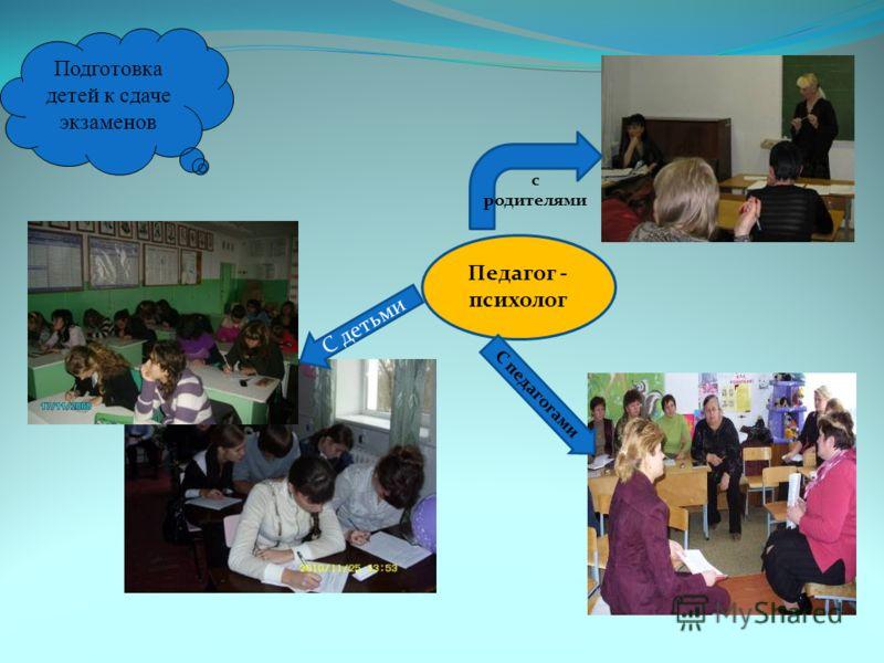 Подготовка детей к сдаче экзаменов Педагог - психолог С детьми С педагогами с родителями