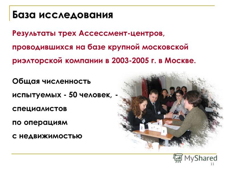 11 База исследования Результаты трех Ассессмент-центров, проводившихся на базе крупной московской риэлторской компании в 2003-2005 г. в Москве. Общая численность испытуемых - 50 человек, - специалистов по операциям с недвижимостью