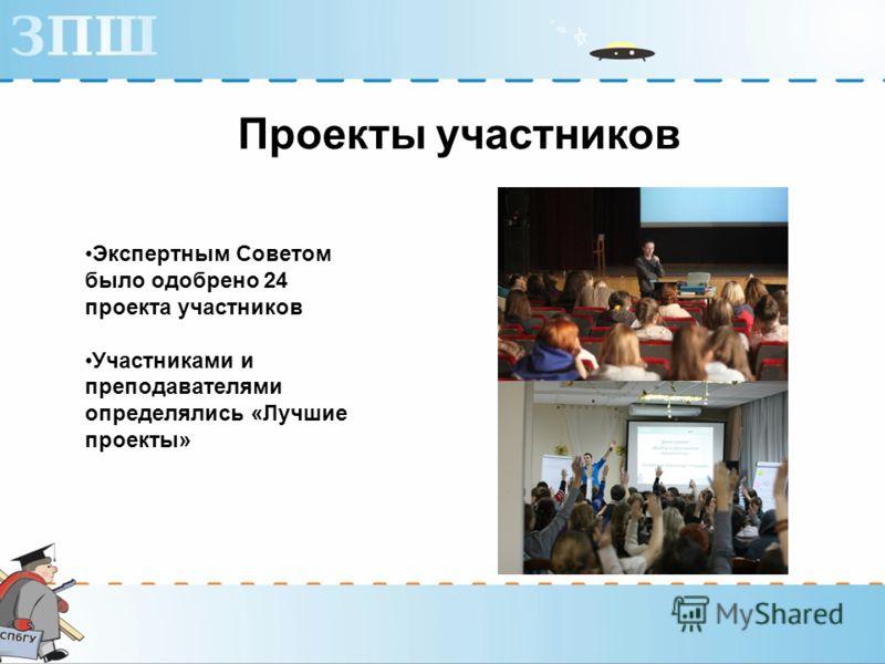 Проекты участников Экспертным Советом было одобрено 24 проекта участников Участниками и преподавателями определялись «Лучшие проекты»